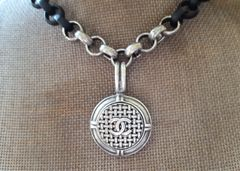 upcycled Chanel Button Necklace, Black/ Silver
