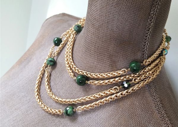 Emerald Green, Beaded Wrap Necklace