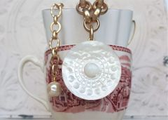ANDREA - Antique, Mother of Pearl Button Necklace