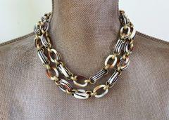 vintage, Italian Lucite Chain Link Necklace, Long Wrap