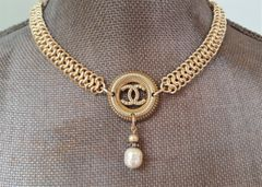 Openwork Chanel Button Necklace with Chainmaille