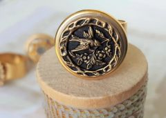 SWEET BIRD- Antique Button Ring