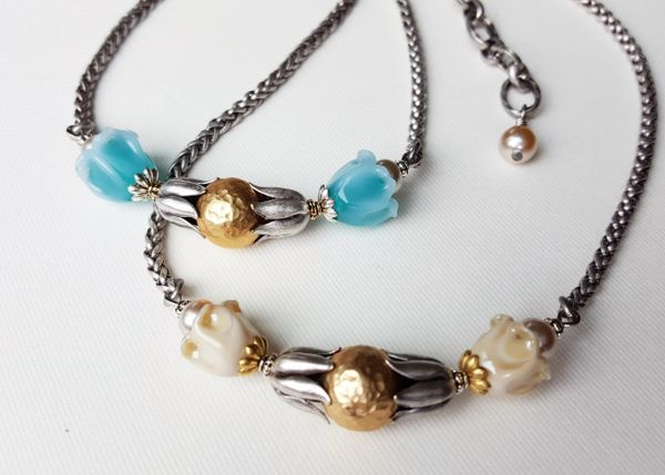 Glass Bell Flower Necklace