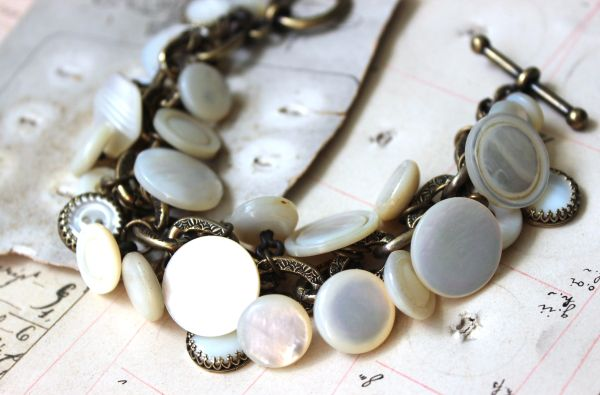 PEARL - Antique Button Charm Bracelet