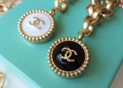 Chanel Button Necklace, Black or White Enamel