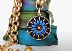 CARINA - Czech Glass Necklace, Sapphire Blue