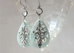 Filigree Lucite Earrings, Pale Aqua