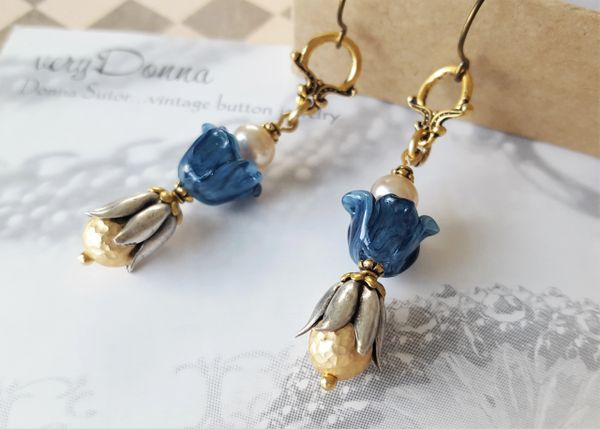 Lampwork Glass Flower Earrings
