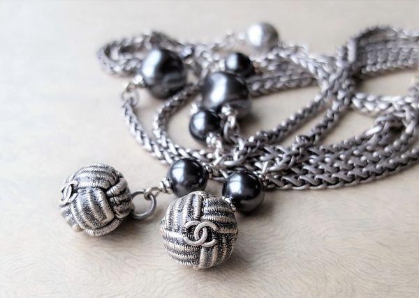 Chanel Button WRAP Necklace, Silver