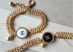 The White Chanel Button Bracelet