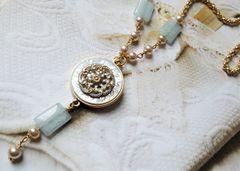 VERA - Antique French Enamel Necklace Pearl/ Pale Aqua