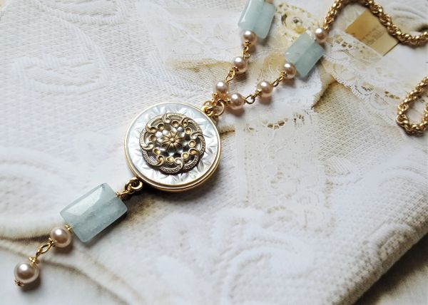 VERA - Antique French Enamel Necklace Pearl/ Pale Aqua