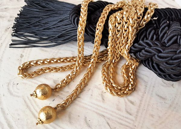 Long Gold Wrap Necklace