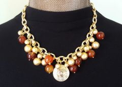 Carnelian Beaded Chanel Button Necklace