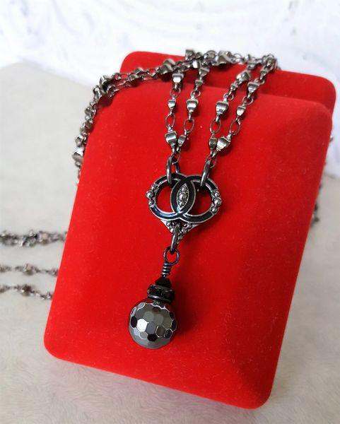 Chanel Heart Button Necklace, Gunmetal
