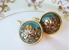 Turquoise Czech Glass Earrings