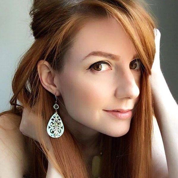 Filigree Lucite Earrings, Pale Aqua