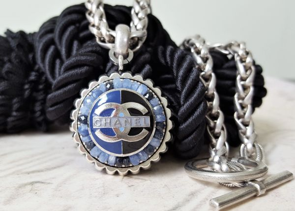 upcycled Chanel Button Necklace, Blue/Black Enamel