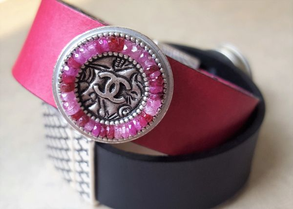 Chanel Leather Cuff Bracelet, Pink