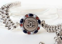 Patriotic Red White and Blue Chanel Button Necklace