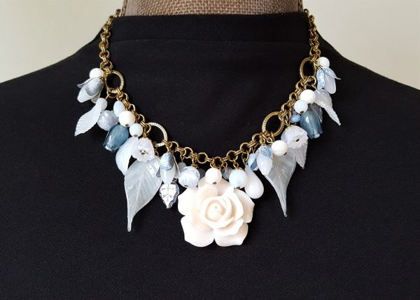 CHARLENE - Floral Charm Necklace, Milk Glass