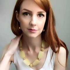 Lemon Yellow Jade Necklace, Chunky