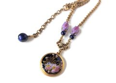Satsuma Button Necklace, Cobalt with Iris