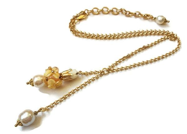 Golden Yellow Pansy, Lariat Necklace