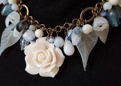 CHARLENE - Floral Charm Necklace, Milk Glass