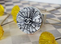 Designer Button Ring, Silver Flower