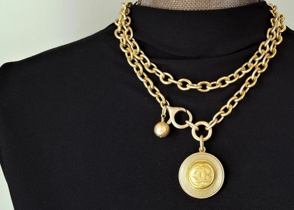 upcycled Chanel Button Necklace, Long to Short