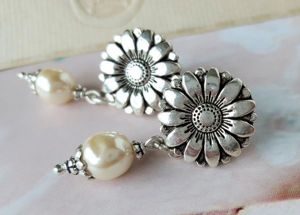 Silver Sunflower and Pearl Earrings
