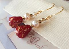 Red Opaline and Pearl Earrings