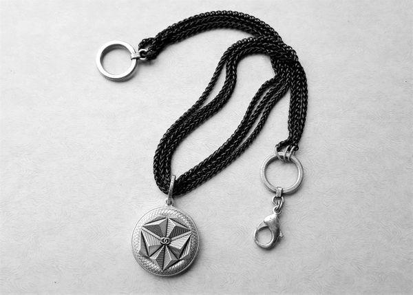 Triple Black Chain Chanel Button Necklace