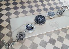 Upcycled Designer Button Charm Bracelet, Black/Grey