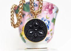 TRISH- Antique JET Glass Necklace