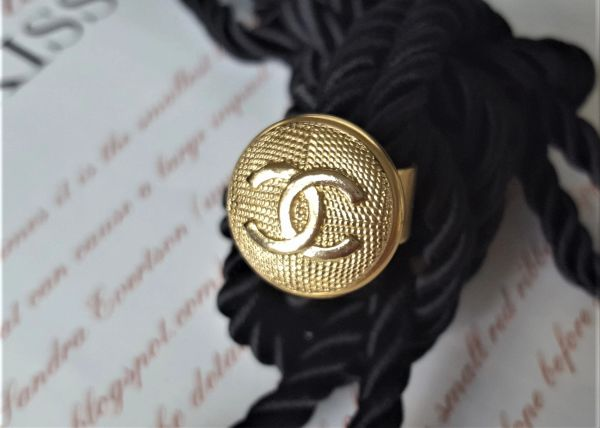 Gold Patterned Chanel Button Ring
