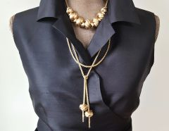 ANNE2 - Two Piece Knot Bead Necklace and Lariat, GOLD