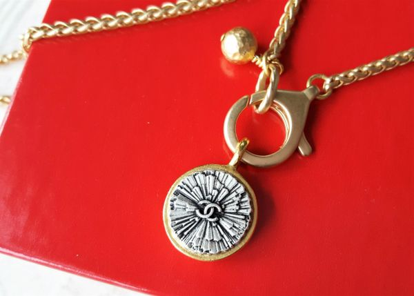 Gold and Silver Chanel Button Necklace, removable pendant