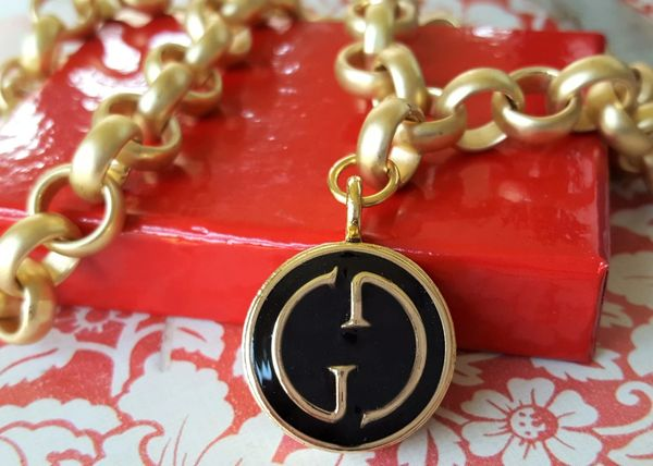GUCCI Button Necklace, Black Enamel and Gold