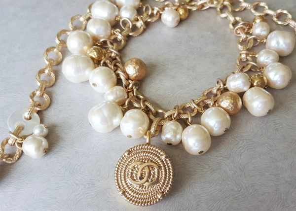 Vintage Baroque Pearl, Designer Button Necklace