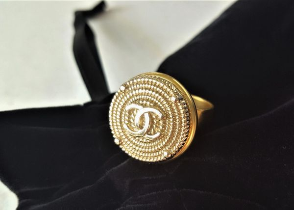 Chanel Button Ring, Textural Gold