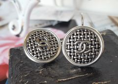 Classic Woven up-cycled Designer Button Earrings