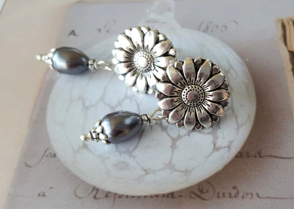 Silver Sunflower Earrings