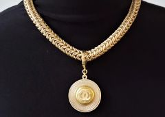 Chunky Chanel Button Necklace, round Chainmaille