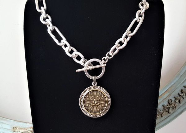 Chanel Button Necklace, Mixed Silver Link