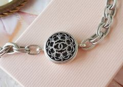 Up-cycled Chanel Button Bracelet, Silver