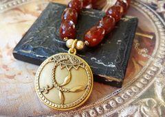 Carnelian Antique Button Necklace