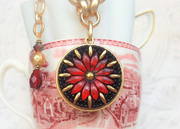 Brilliant Red Czech Glass Necklace