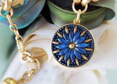 Czech Glass Necklace, Sapphire Blue